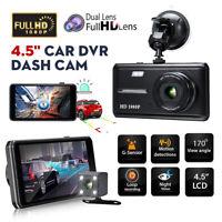 "4.5"" 1080P Touch Screen Car DVR Dash Cam Rearview Camera Dual Lens Night Vision"