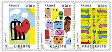 france 2016 Liberty Equality Fraternity Liberté Egalité Fraternité 3v mnh strip