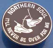 Northern Soul It'll Never Be Over For Me Circle Silver & Black Enamel Pin Badge