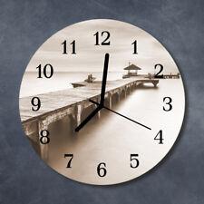 Glass Wall Clock Kitchen Clocks 30 cm round silent Wooden Bridge Grey