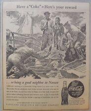 """Coca-Cola ad: Fantastic Frank Godwin Artwork! 1940's  9 x 12 inches """"Nassua"""""""