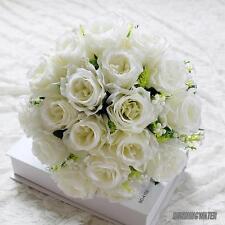 18Head Artificial Silk Roses Flowers Bridal Bouquet Posy Home Wedding Decoration