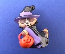 Buy1&Get1@50%~Hallmar k Merry Miniatures Halloween Raccoon Witch Vtg Figurine Skr