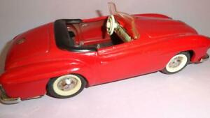 GERMANY SCHUCO RED CONVERTIBLE MERCEDES 2095 CABRIOLET TIN METAL CAR TOY 1970's