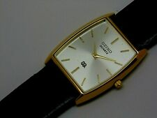 Seiko Quartz Super Slim Men's Gold Plated Silver Dial Excellent Watch Run Order