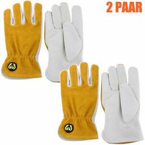 2 Paar Arbeitshandschuhe Rindsleder Schutz Lederhandschuhe Montagehandschuhe