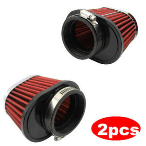 "2x 2.15"" Red Performance High Flow Cold Air Intake Cone Replacement Dry Filter"