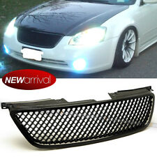 Fit 02-04 Altima Honeycomb Glossy Black Bumper Hood 3D Mesh Grill Grille