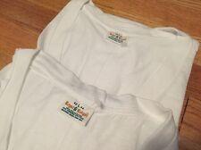 Lot 2 Vintage Royal Knight V Neck Blank 50/50% White Thin T Shirt. Size L Nos.