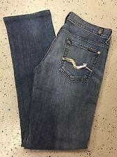 SEVEN FOR ALL MANKIND Womens Sz 25 Blue Jeans Stretch Denim Straigh Leg (Q457)