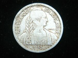 FRENCH INDOCHINA 10 CENTIMES 1945 Vietnam Cambodia Laos Sharp 000# Coin