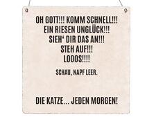 XL Holzschild OH GOTT KOMM SCHNELL Spruch Katze Lustig Haustier Shabby Türschild