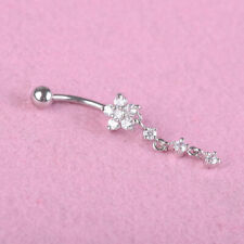Ring Bar Body Piercing Jewelry Sliver 1Pc Crystal Dangle Naval Ring Belly Button