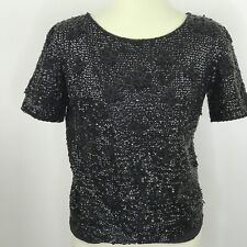 Vtg 60s Jeri-Jo Ny Sequin Beaded Top Zephyr Wool Black Chinese Knot Size 38-Us M