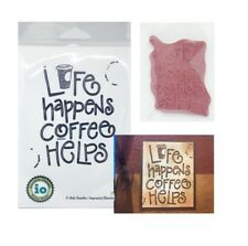 Coffee Words Rubber Stamp Life Happens Impression Obsession Cling Stamps E21008