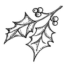 Christmas Holly Small Wood Mounted Rubber Stamp NORTHWOODS B10530 New