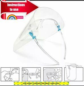 Full Face Shield Visor Glasses Transparent Protection Safety Clear Anti-fog UK