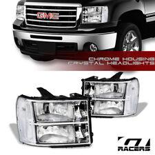 For 2007-2014 GMC Sierra Oe Chrome Clear Housing Headlights Signal Lamps Pair Nb