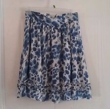 Womens Hanna & Gracie skirt size Small, blue white, lined, ruffles, zips -164