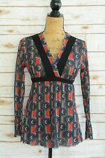 Sweet Pea Mimi Maternity RED navy geometric nylon mesh V-neck top, size S