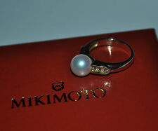 Mikimoto Pearl & Diamond Ring in 18k Yellow Gold Size 6.5