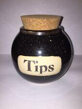 "Muddy Waters Ceramic Pottery Word Jar ""Tips"" w/ Cork Lid New Handmade Gift"