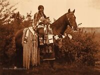 1990 Vintage EDWARD CURTIS Cayuse Indian Woman On Horse GOLDTONE Photo Art 12x16