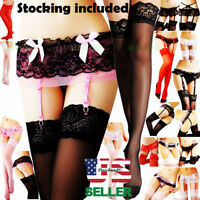 Sexy Women's Lace Garter Belt Stocking G-string Lingerie + Thigh-Highs Stockings