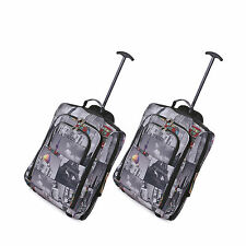Black Friday OFFER Set of 2 Trolley Cabin Hand Luggage Bag Fits Within 55x40x20 Cities 825 55cm