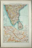 Southern India: Original 1903 Map by Velhagen & Klasing. Ceylon, Antique