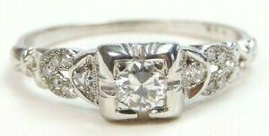 Antique Art Deco Vintage Engagement 18K White Gold Ring Size 6 UK-L1/2 EGL USA