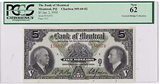 1935 $5 Bank of Montreal Bill   (GB1)