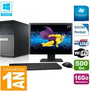 """PC Tour DELL 9020 Intel G3220 Ram 16Go Disque 500 Go Wifi W7 Ecran 19"""""""