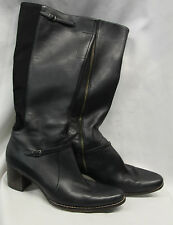 Timberland Womens Black Leather Boots Size 9.5 M Heels Excellent Used Condition