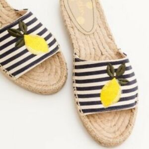 BODEN Corrie Lemon Navy Striped espadrilles flat sandals 8 straw beige sliders