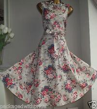 Vestido de verano Monsoon Candice floral años 50 Rockabilly Vintage Baile de graduación Ajuste N FLARE 16