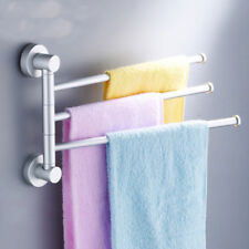 3-Arm Wall Mounted Bathroom Swivel Bars Towel Rail Hanger Holder Bath UK