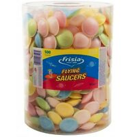 FRISIA FLYING SAUCERS–TUB OF 500–UFO SWEETS CANDY SHERBET FILLED CHILDRENS PARTY