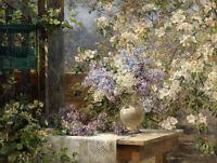 Art Oil painting Marie Egner Austrian In the flower arbor spring landscape