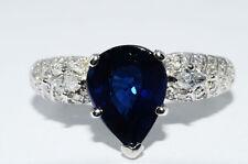 $15,990 3.84Ct Lapis Gem Certified Natural Blue Sapphire & Diamond Ring