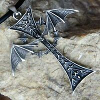 BIG GOTHIC VAMPIRE BAT DRACULA WINGED CROSS W Bat Wing Punk Rock pewter pendant