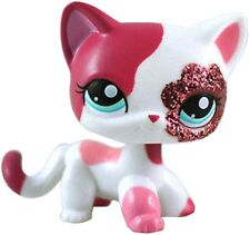 Hasbro Littlest Pet Shop LPS Cat Kitty Short Hair Rare Toy White Pink #2291