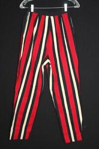 """RARE VINTAGE 1960'S THICK WOOL RED, BLACK & WHITE CAPRIS SIZE 24"""" WAIST"""