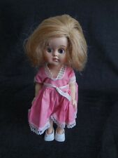 "9"" Tall1940's Hard Plastic Doll With Real Hair and Eyes Open and Shut Original"