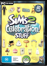 D6 The Sims 2 Celebration! Stuff 60 Party Items! PC CD ROM EA GAME + MANUAL