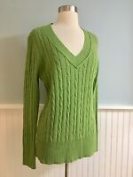 Size Large L Ann Taylor Loft Wool Blend Green Cable Knit Sweater Top New