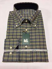 BORGO ALTO camisa de hombre franela luz celeste oscuro/azul/amarillo 100%algodón