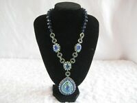 "HEIDI DAUS ""Royal Elegance"" (Blue-Colorway) Beaded Drop Necklace (Orig.$399.95)"