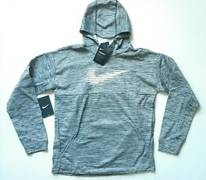 NEW Nike Boys Pullover Hoodie Therma-Fit Black White BV3785-011 Size XL