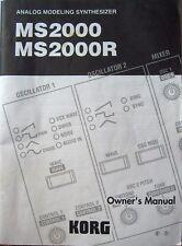 Korg MS2000 MS2000R Analog Modeling Synthesizer Original Owner's Manual Book